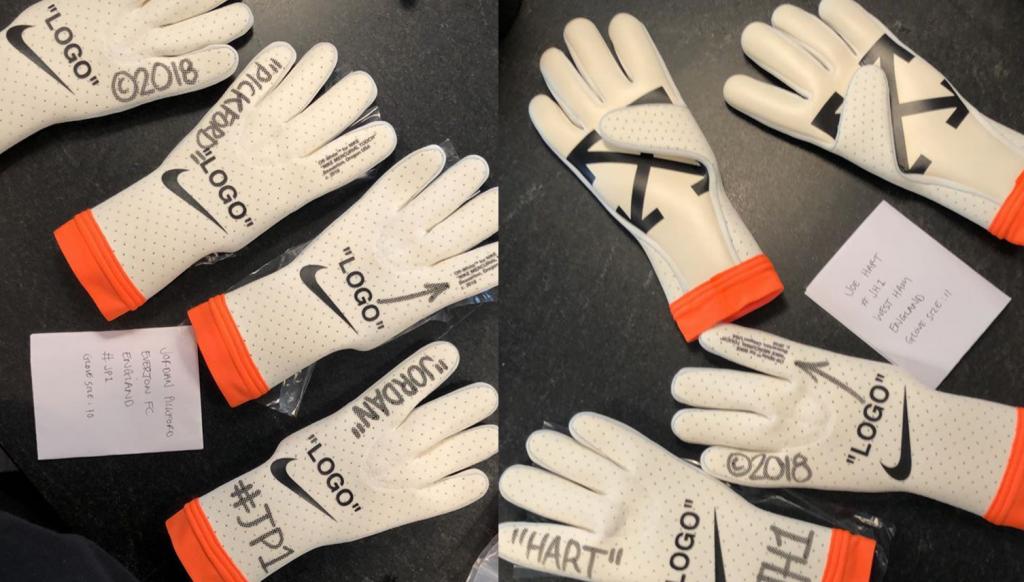 Virgil Abloh Reveals Custom Off-White x Nike Goalkeeper Gloves for Hart and  Pickford